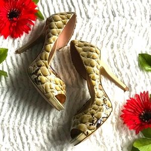 Jessica Simpson Josette croc skin D'Orsay heels
